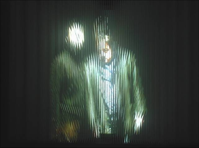 (10)string_Mirror   strings, video camera, projection 240 x 180 x 90 cm 2003